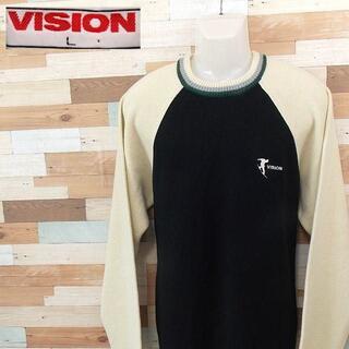 【VISION】 美品 ヴィジョン 長袖トレーナー クリーム/ブラック サイズL(スケートボード)