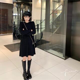 ニットワンピース ミニワンピ 黒 セーター 韓国 ケーブルニット レディース
