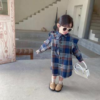 新品 チェック柄 ワンピース 韓国子供服