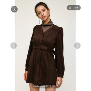 SLY - PUFF SLEEVE SUEDE S/OP/パフスリーブスウェードワンピース