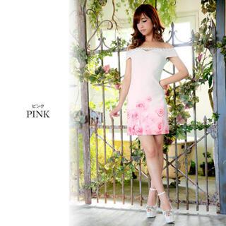 ジュエルズ(JEWELS)の✨新品✨ ビジュー オフショル タイト 花柄 フラワー ピンク ホワイト (ミニドレス)