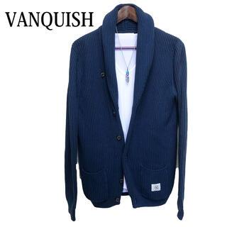 ヴァンキッシュ(VANQUISH)のVANQUISH ニットカーディガン 青 コットンカーディガン 羽織りもの(カーディガン)