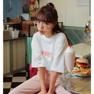 スタイルナンダ(STYLENANDA)の韓国 Tシャツ ホワイト ピンク(Tシャツ(半袖/袖なし))
