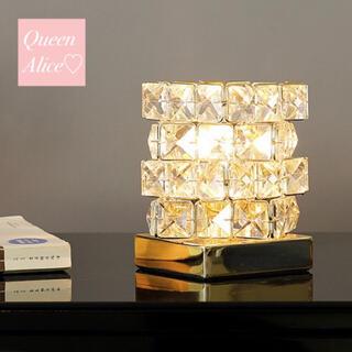 【匿名配送】ゴールド クリスタル テーブルランプ ライト 北欧 クリスマス(テーブルスタンド)