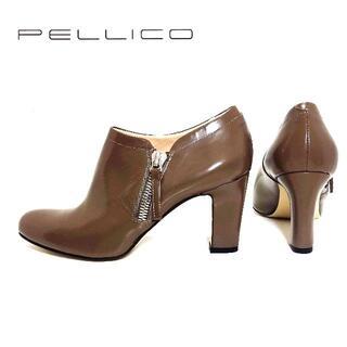 ペリーコ(PELLICO)の超美品 PELLICO ペリーコ 37 1/2 グレージュカラー ジップブーティ(ブーティ)