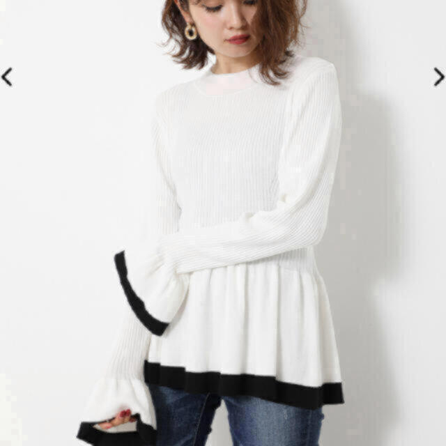 rienda(リエンダ)のBicolor Peplum Knit TOP レディースのトップス(ニット/セーター)の商品写真