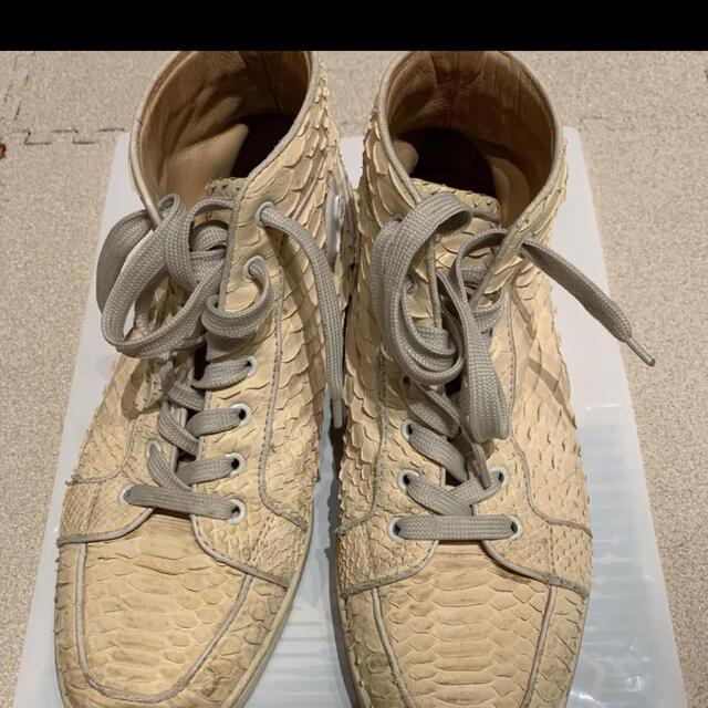 Christian Louboutin(クリスチャンルブタン)のクリスチャン ルブタン パイソンハイカットスニーカー メンズの靴/シューズ(スニーカー)の商品写真