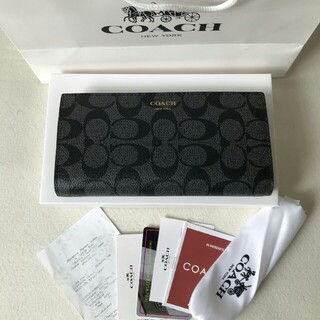 COACH - COACH コーチ 長財布 F74599 ブラック 折り財布