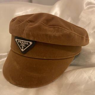 PRADA - 【PRADA(プラダ)】 ロゴ キャスケット ハット ブラック 帽子 茶