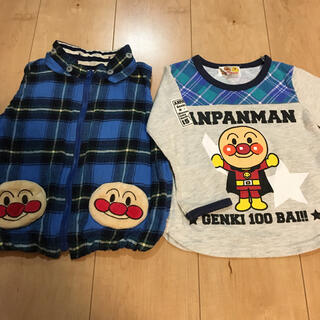 アンパンマン - 90cm アンパンマンリバーシブルベスト+長袖Tシャツ2点セット☆