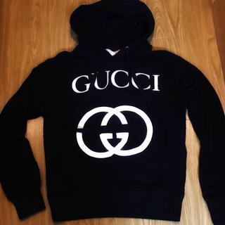 Gucci - GUCCI 黒 インターロッキング パーカー スウェット グッチ ロゴ