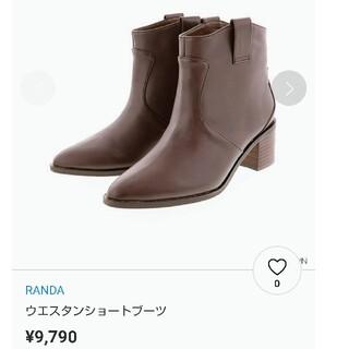 RANDA - 新品 未使用 RANDA ウエスタンショートブーツ ブラウン S ショートブーツ