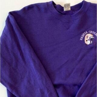 アンソフィーバックバック(ANN-SOFIE BACK/BACK)のソフィー 刺繍ロゴ アメフト スウェット トレーナー 紫 パープル 古着 L(スウェット)