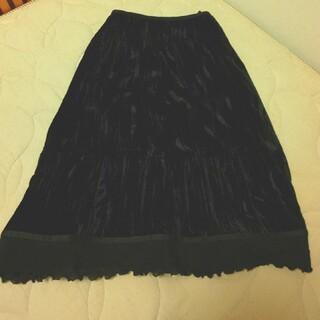シビラ(Sybilla)のSybilla シビラ 黒 ベロアスカート シワ加工 裾シフォンレース M(ひざ丈スカート)