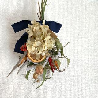 《no.30》 #トウガラシ×オレンジ×紫陽花(ドライフラワー)