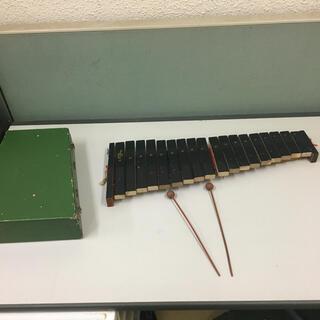 レトロ コンパクト木琴 折りたたみ式 緑 グリーン ばち付き レトロ 木琴 (木琴)