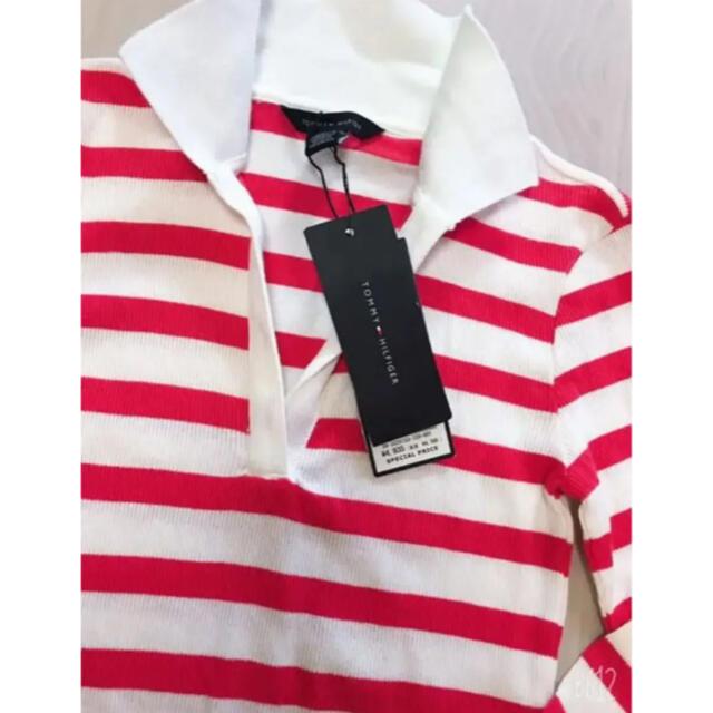 TOMMY HILFIGER(トミーヒルフィガー)のTOMMY HILFIGER❤︎赤ボーダーラガーシャツ 新品 レディースのトップス(ポロシャツ)の商品写真