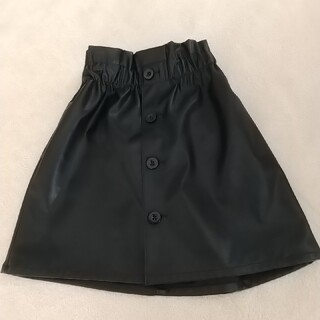 GU - GU フェイクレザースカート ブラック  120cm