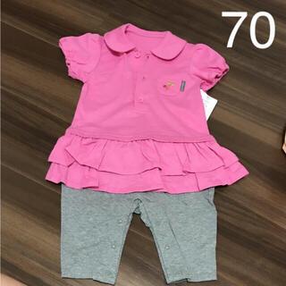 ポロシャツ 重ね着風 デザインロンパース 70cm ピンク(ロンパース)