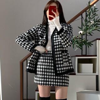 STYLENANDA - 【予約商品】千鳥柄 セットアップ  ジャケット スカート 韓国ファッション 冬服