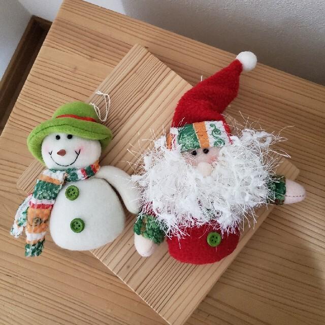 IKEA(イケア)のサンタクロース&スノーマンクリスマスオーナメント(2コセット) インテリア/住まい/日用品のインテリア小物(その他)の商品写真