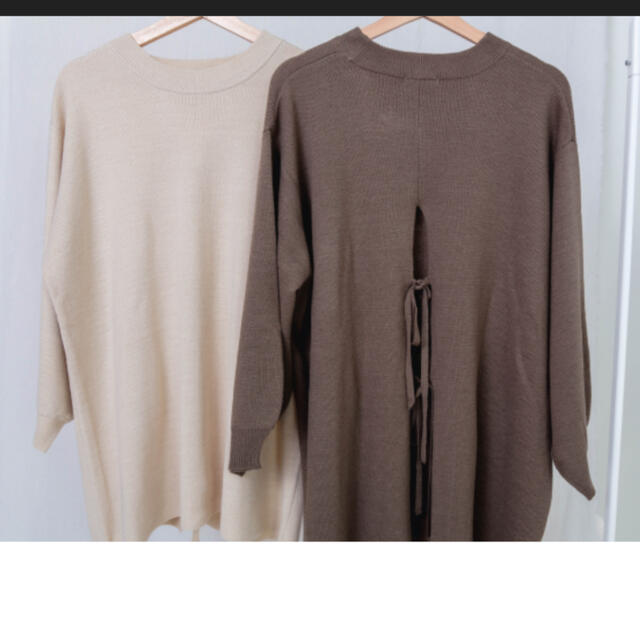 しまむら(シマムラ)のプチプラのあや バックリボンニットプルオーバー 濃白 レディースのトップス(ニット/セーター)の商品写真