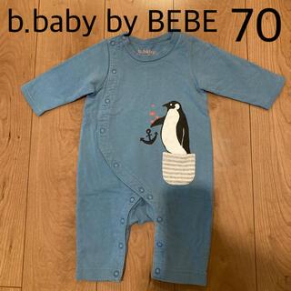 ベベ(BeBe)のb.baby by BEBE べべ スウェット ペンギン カバーオール 70 青(カバーオール)