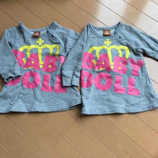 ベビードール(BABYDOLL)のロンT Tシャツ ワンピース ベビードール 女の子 80 80サイズ双子 姉妹(ワンピース)
