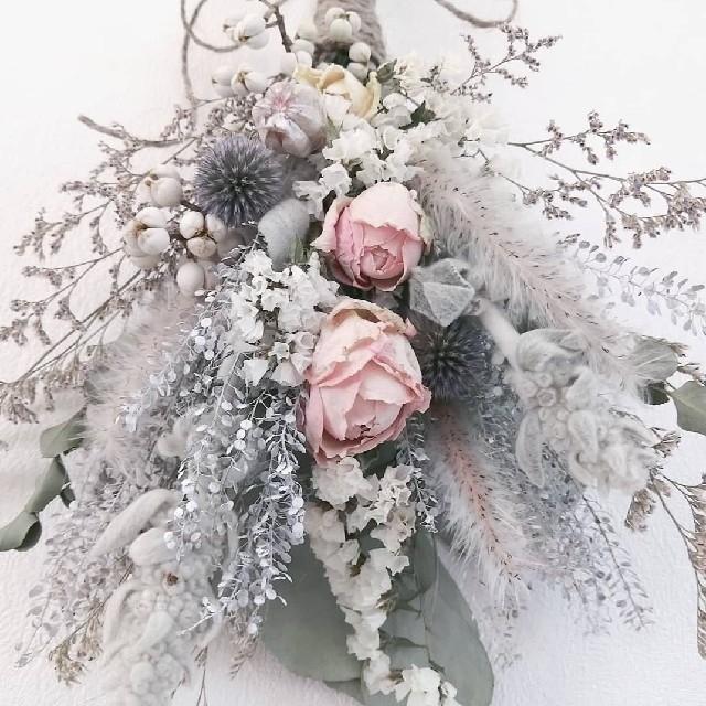 ピンクバラのアンティークスワッグ ハンドメイドのフラワー/ガーデン(ドライフラワー)の商品写真