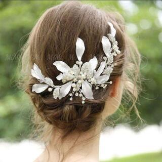☆新品ヘッドドレス シルバー ウェディングブライダルヘッドヘアアクセサリー結婚式(ウェディングドレス)
