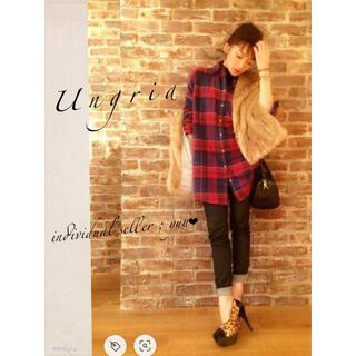 Ungrid - Ungrid 杢チェックシャツ ルーズ ビッグ