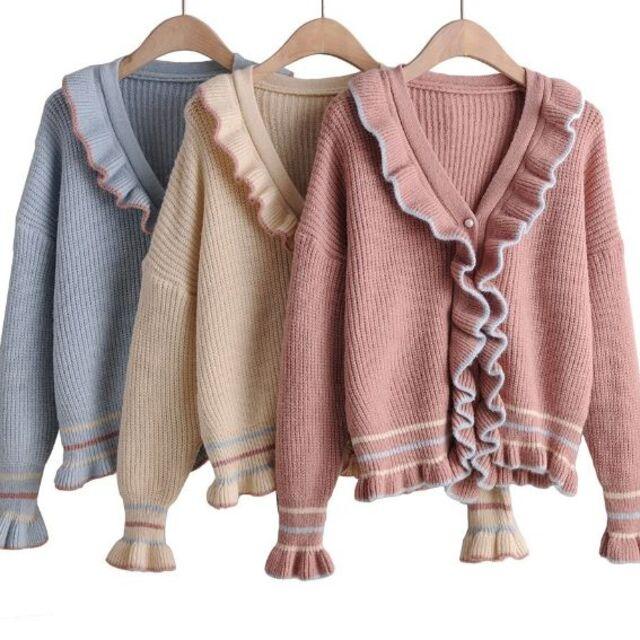 ZARA(ザラ)のフリル 配色 ニット レディースのトップス(ニット/セーター)の商品写真