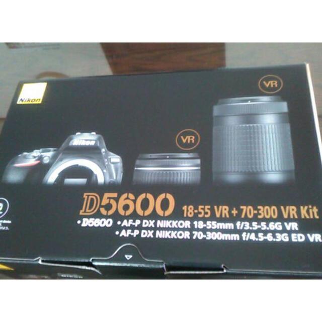 Nikon(ニコン)のデジタル一眼レフカメラ D5600 ダブルズームキット ブラック 新品 スマホ/家電/カメラのカメラ(デジタル一眼)の商品写真