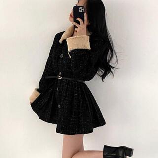 STYLENANDA - 【予約商品】ツイード ミニワンピース風 コート 韓国ファッション