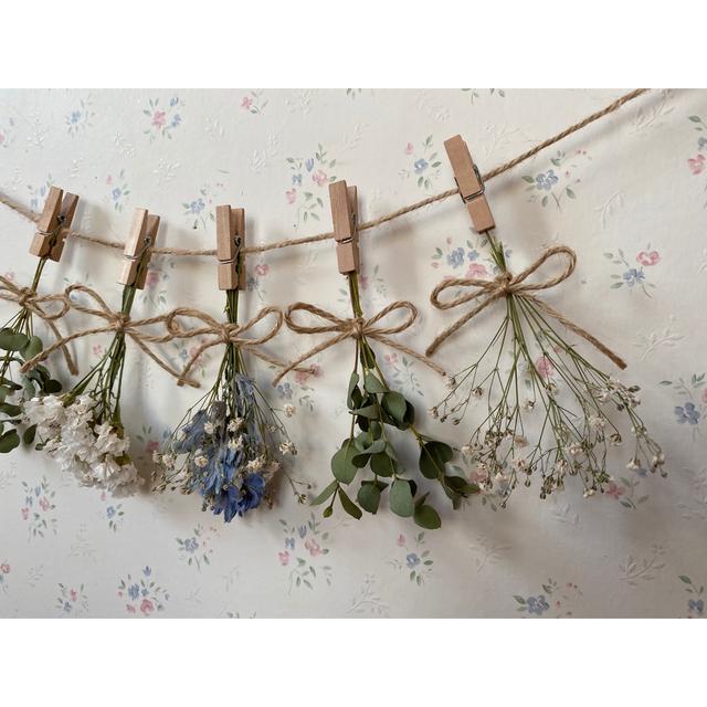 デルフィニウムとかすみ草とユーカリのドライフラワーガーランド♡スワッグ ハンドメイドのフラワー/ガーデン(ドライフラワー)の商品写真