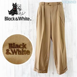Black&White ワンポイントロゴツータックウールギャバジンスラックス L