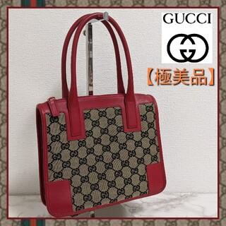 Gucci - 【美品】GUCCI グッチ ミニ ハンドバッグ GGキャンバスレザー レッド