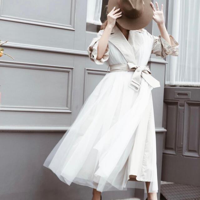 eimy istoire(エイミーイストワール)の年末キャンペーン☆☆☆チュールレイヤードトレンチコート レディースのジャケット/アウター(トレンチコート)の商品写真