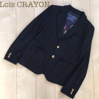 Lois CRAYON - Lois CRAYON 金ボタン紺ブレザー 裏地総柄 M テーラードジャケット