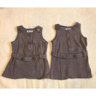 ベベ(BeBe)のBeBe 90 ジャンパースカート2枚セット(スカート)