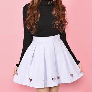 アンクルージュ(Ank Rouge)のAnk Rouge 裾ハート刺繍ブッチャースカート(ミニスカート)