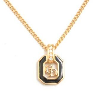 Christian Dior - 【美品】クリスチャンディオール CDロゴ ネックレス ブラック×ゴールド
