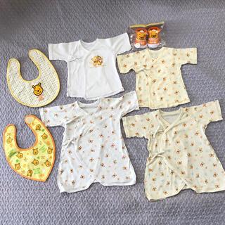 ディズニー(Disney)の【ふくさん専用】プーさん新生児 コンビ 短肌着 ベビーソックス(新品)7点セット(肌着/下着)