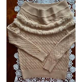 クミキョク(kumikyoku(組曲))の超美品❣️新品未使用❣️組曲毛皮トリミングスヌード付きセーター(ニット/セーター)