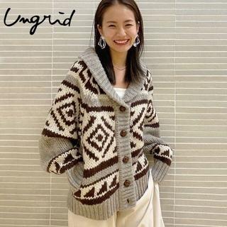 アングリッド(Ungrid)の今期物 Ungrid人気のハンドカウチンニット 試着のみ(ニットコート)