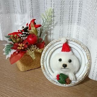 羊毛フェルト  マルチーズ  クリスマスフレーム