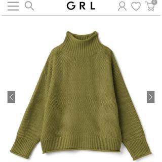 グレイル(GRL)の【新品】グレイル ハイネックニットトップス グリーン(ニット/セーター)