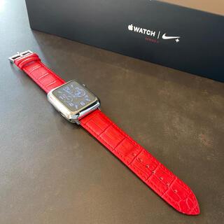 アップルウォッチ(Apple Watch)の【上質本革使用】アップルウォッチ クロコダイル調 レザーバンド 42/44mm用(レザーベルト)