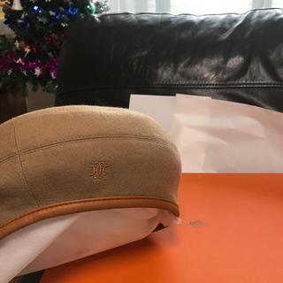 エルメス(Hermes)のベージュ完売レア59cmエルメス カシミア 100%ロゴ入りベレー帽(ハンチング/ベレー帽)