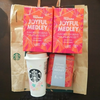 スターバックスコーヒー(Starbucks Coffee)の2020年SAKURAリユーザブルカップ&茶葉ジョイフルメドレーセット(茶)